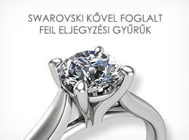 Swarovski kővel foglalt FEIL eljegyzési gyűrűk készletről
